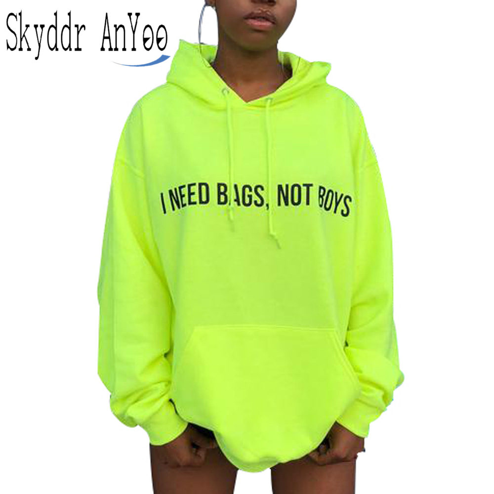 Women Autumn Neon Green Hoodies Letter Printed Long Sleeve Hooded Sweatshirt Hoodie With Pockets Casual Hoodies Dress Vestidos pocket