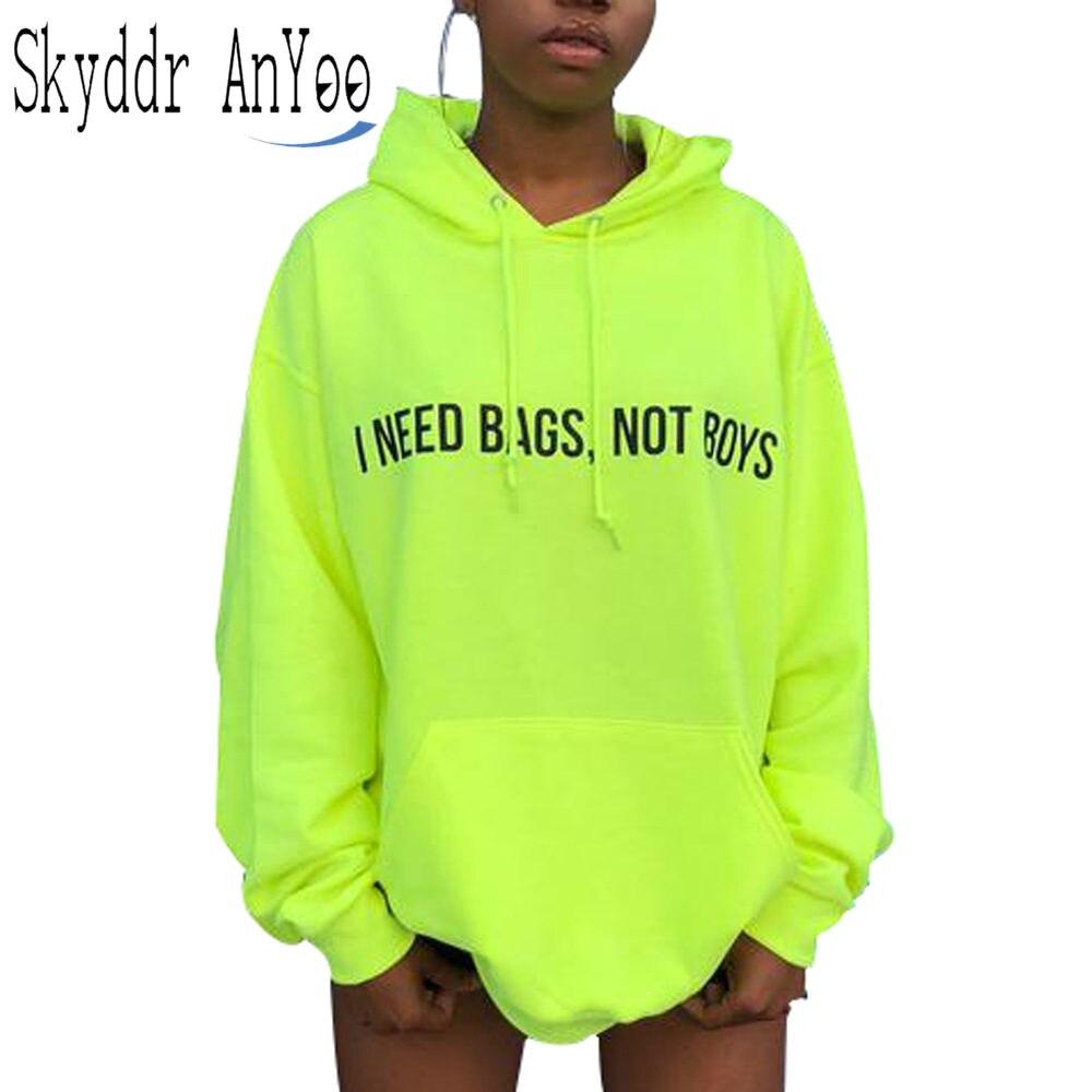 Women Spring Neon Green Hoodies Letter Printed Long Sleeve Hooded Sweatshirt Hoodie With Pockets Casual Hoodies Dress Vestidos