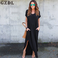 GZDL Casual Party Summer Women Loose Dress Style Short Sleeve O Neck Pocket Split Dress Fashion