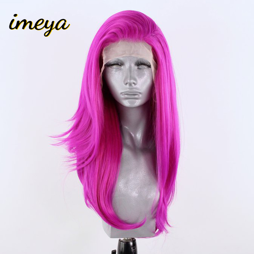 Imeya Long Natural Wave Synthetic Lace Front Wigs With Side Part Heat Resistant Fiber Lace Wigs For Women