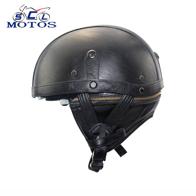 Sclmotos -DOT Approved Motorcycle Helmet Adult Leather for Harley Helmets For Motorcycle Retro Half Cruise Helmet Prince Racing