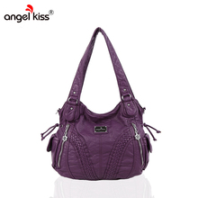 Angelkiss Brand Women Shoulder Bags Hobos Bags For Women PU Washed Handbags High Quality Messenger Bags Knitting Casual Tote Bag(China)