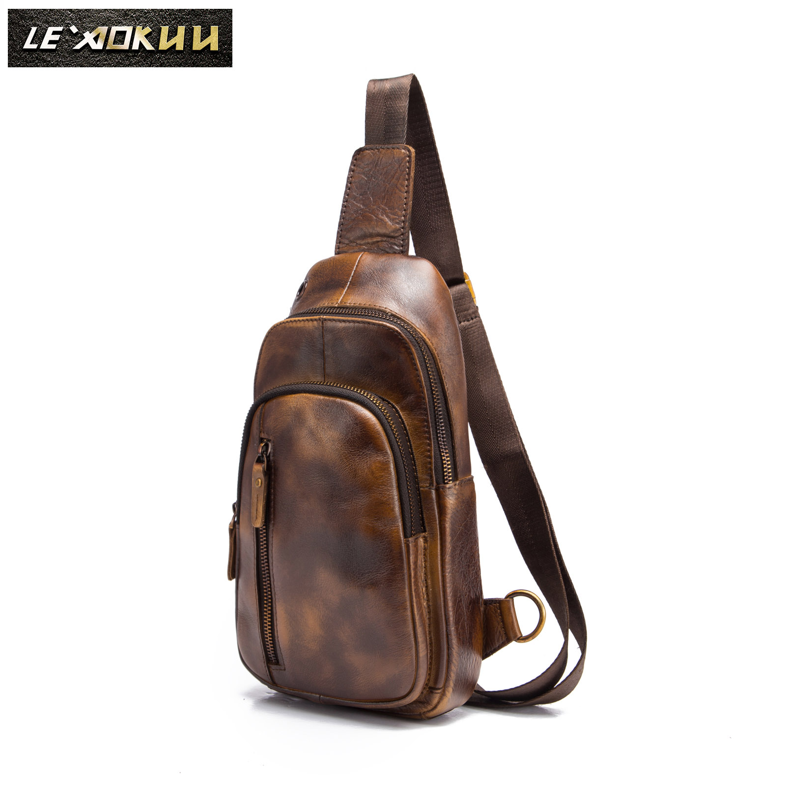 Men Original Leather Casual Fashion Chest Sling Bag Brown Design Travel Triangle One Shoulder Cross Body Bag Daypack Male 8005lb