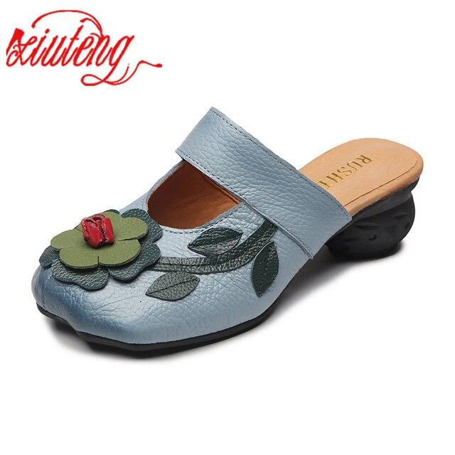 Xiuteng Çiçek Terlik Hakiki deri ayakkabı El Yapımı Slaytlar Flip Flop Üzerinde Platformu Takunya Kadın Kadın Terlik Artı Boyutu
