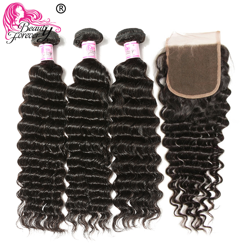Beauty Forever Brazilian Deep Wave Hair Bundles With Closure Free Part 100 Remy Human Hair Weaves