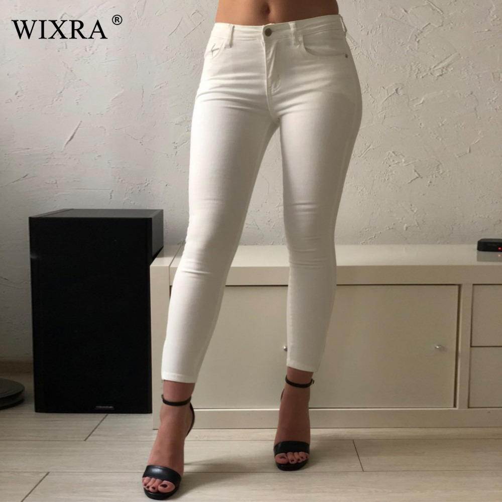 WIXRA Basic Jeans For Women 9 Colors Casual Mid Waist Side Zipper Stretchy Ankle Length Trousers Skinny Jeans