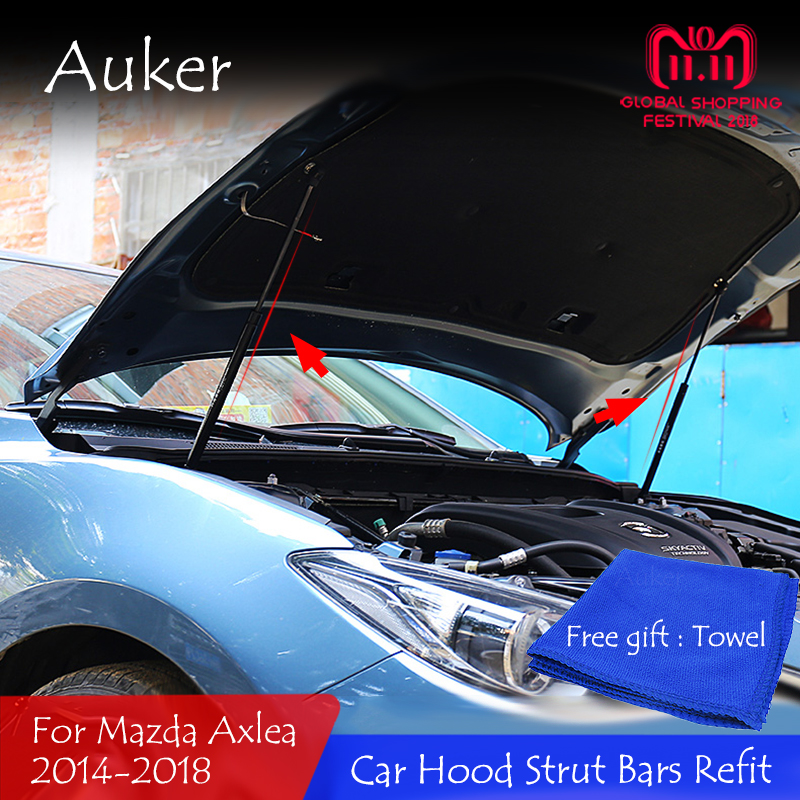For <font><b>Mazda</b></font> <font><b>3</b></font> Axela 2012-2019 Car Front Hood <font><b>Engine</b></font> <font><b>Cover</b></font> Hydraulic Rod Strut Spring Shock Bars Bracket Car Styling image