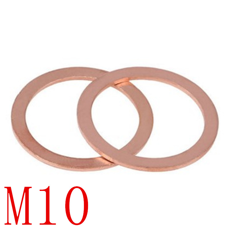 Zyj stores Flat Washers 10mmx14mmx1.5mm Copper Crush Washer Flat Seal Ring Gasket 50Pcs Stainless Flat Washer