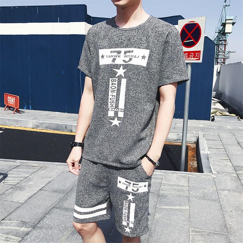 Fashion brand men sets Letter printed mens tracksuit male sweatsuit Gray sweat sporting suits tshirt and shorts plus size 3xl
