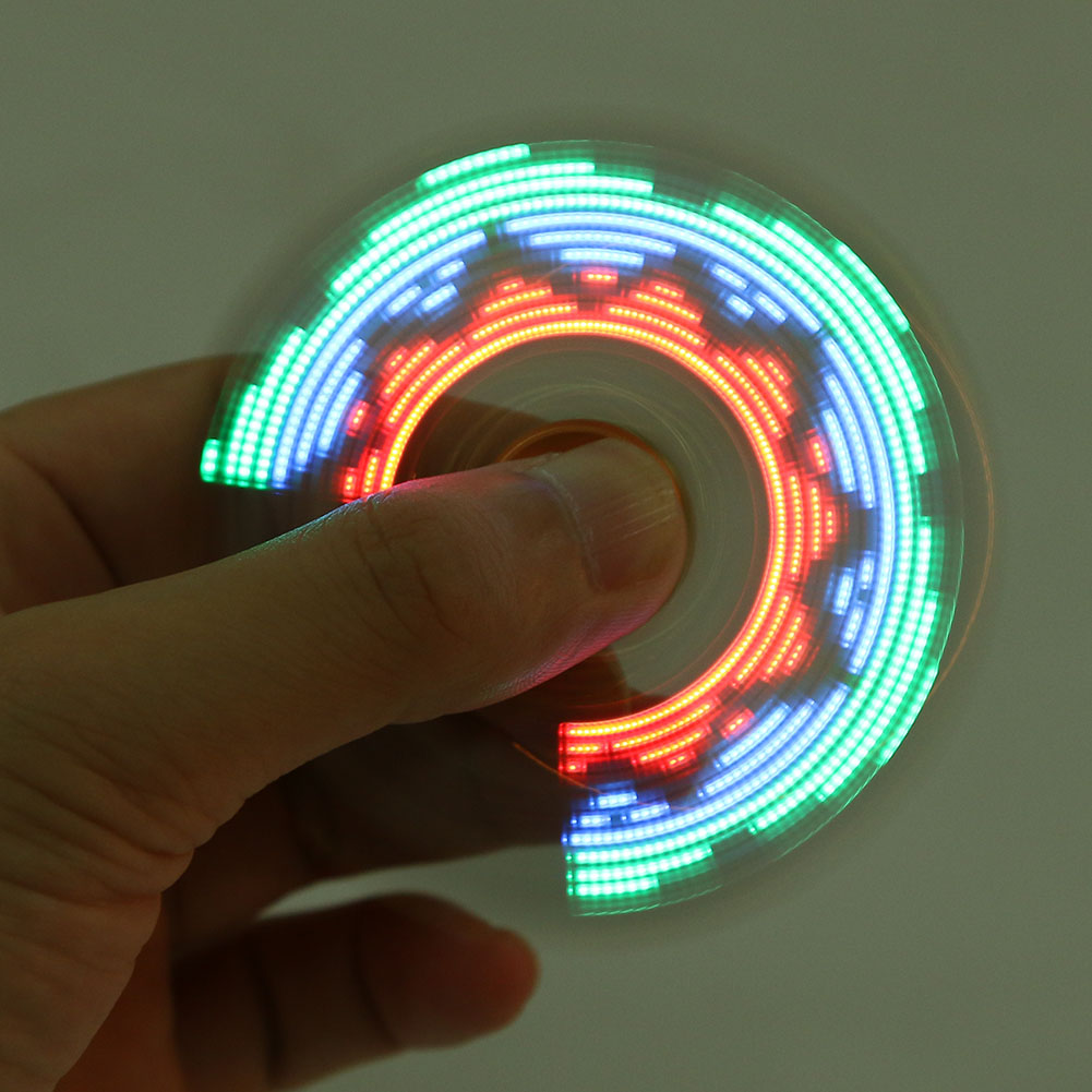 Luminous Metal Fidget Spinner 18 Kind Of Flash Pattern Soccer Sparkle LED Tri Spinner Fidget Toy
