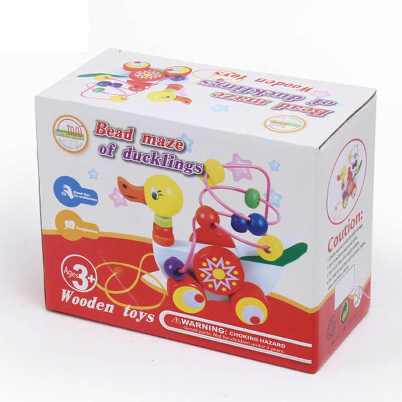 Утка вокруг Бусины игрушки детские деревянные Игрушечные лошадки утенок Прицепы мини вокруг Бусины Развивающая игра Игрушечные лошадки для детей Детский подарок