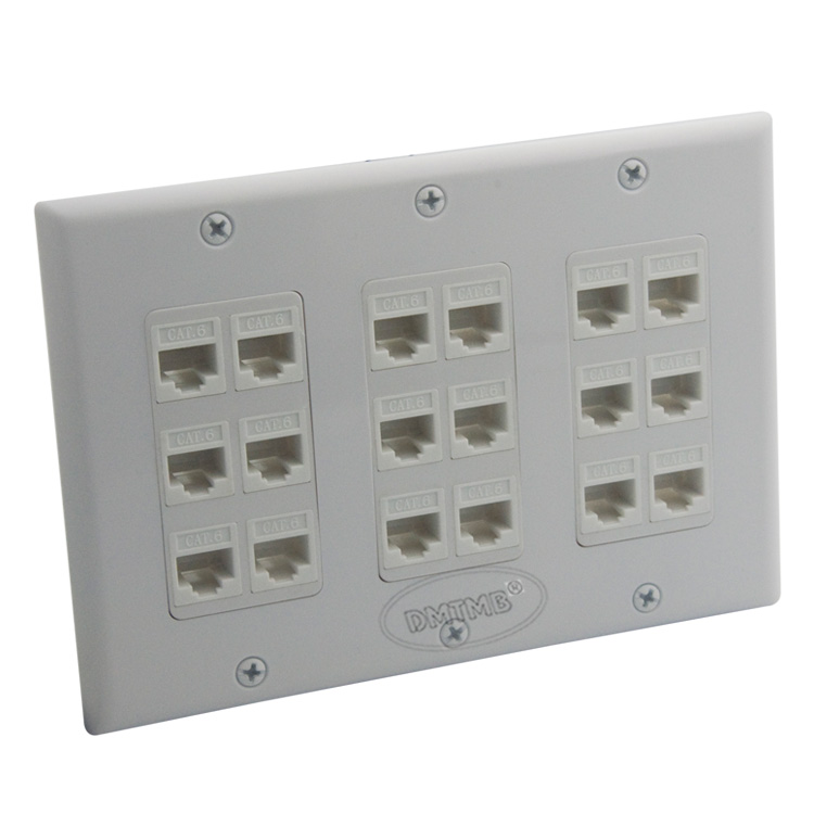 4x 2 Gang 12 Port Face Wall Plate Cat6 Cat5 RJ45 Keystone Ethernet Network Ivory
