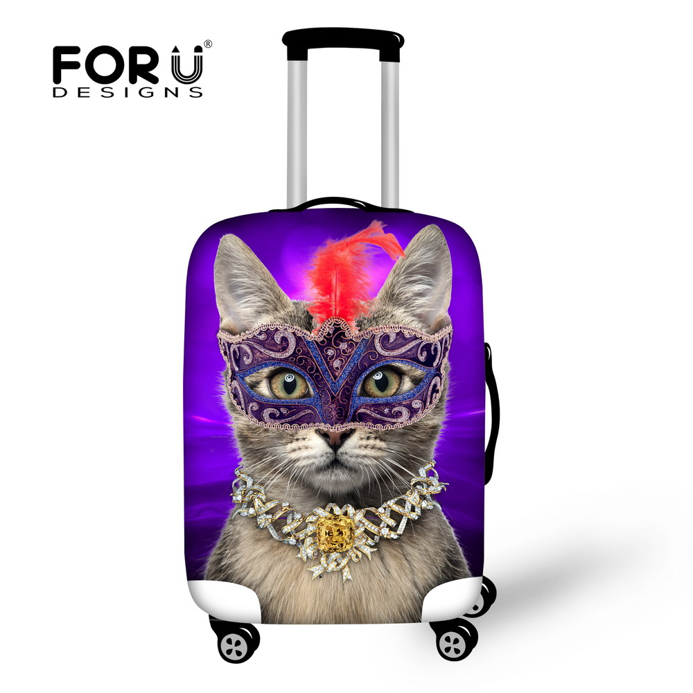 New Design 3D Waterproof Elastic Travel Luggage Cover Cat Printed Protect Suitcase Cover Apply To 18/20/22/24/26/28/30 inch Case