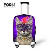 New Design 3D Waterproof Elastic Travel Luggage Cover Cat Printed Protect Suitcase Cover Apply To 18