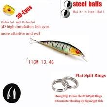 13.4g 11cm 1pcs Minnow Lure Sea Fishing Tackle Fishing Kit Hard Bait Jig Wobbler Plastic Lure Fishery Feeder Fishing Lure WS-03