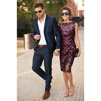 Hot Sale Dark Navy 2 Pieces Slim Fit Mens Suits Jacket Pants Groom Tuxedos Groomsman Best