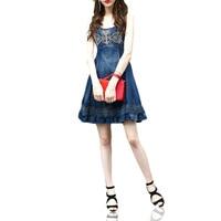 Sweet quality, round neck, sleeveless waist, slim embroidery, pleated short denim dress WeChat free agent.