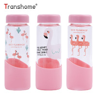 Transhome Flamingo Glass Water Bottle 300ml Creative Mondri Lovely Portable Pink Color Cute Cartoon High Borosilicate