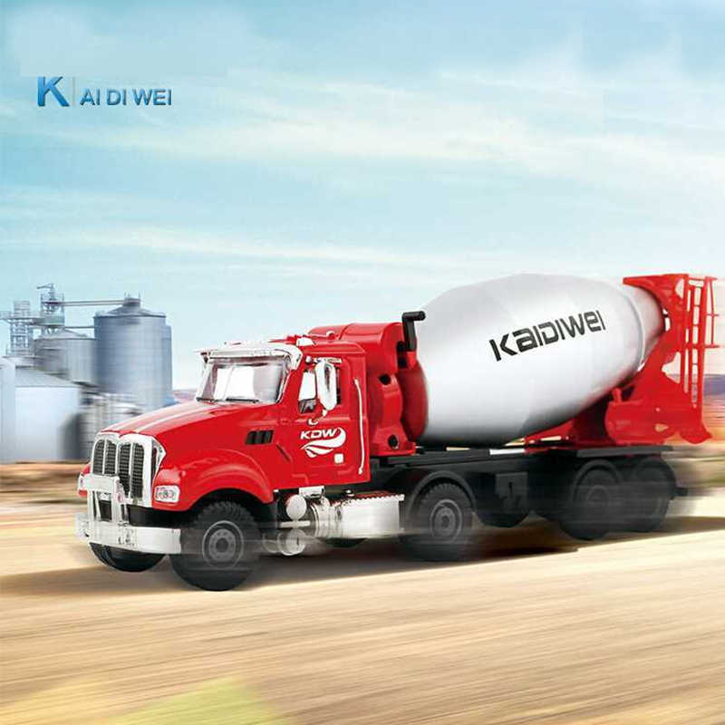 KDW Alloy Diecast 1:50 American Engineering Truck  Model Car Cement Mixer Construction Site Metal Toys For Children Hobby Toys