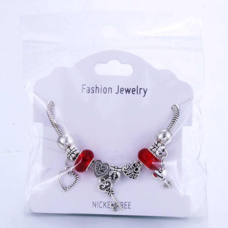 Romantyczna miłość bransoletka typu charm diy miłość serce klucz i blokada bransoletka dla kobiet biżuteria boże narodzenie nowy rok prezent