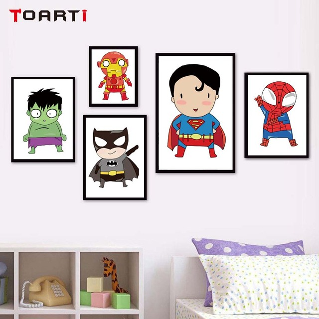 Cute Super Hero Canvas Painting Cartoon Batman Art Print Poster Wall Pictures For Kids Baby Room Home Decoration No Frame
