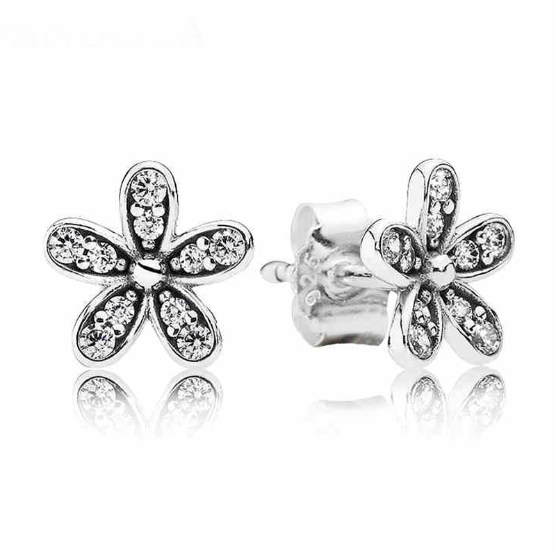 European Christmas 925 Sterling Silver Dazzling Daisy Stud Earring With Clear CZ