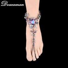 Dvacaman 2017 Fashion Beach Vacation Ankle Bracelet Sandals Sexy Leg Chain Female Boho Crystal Anklet Statement Jewelry 6104