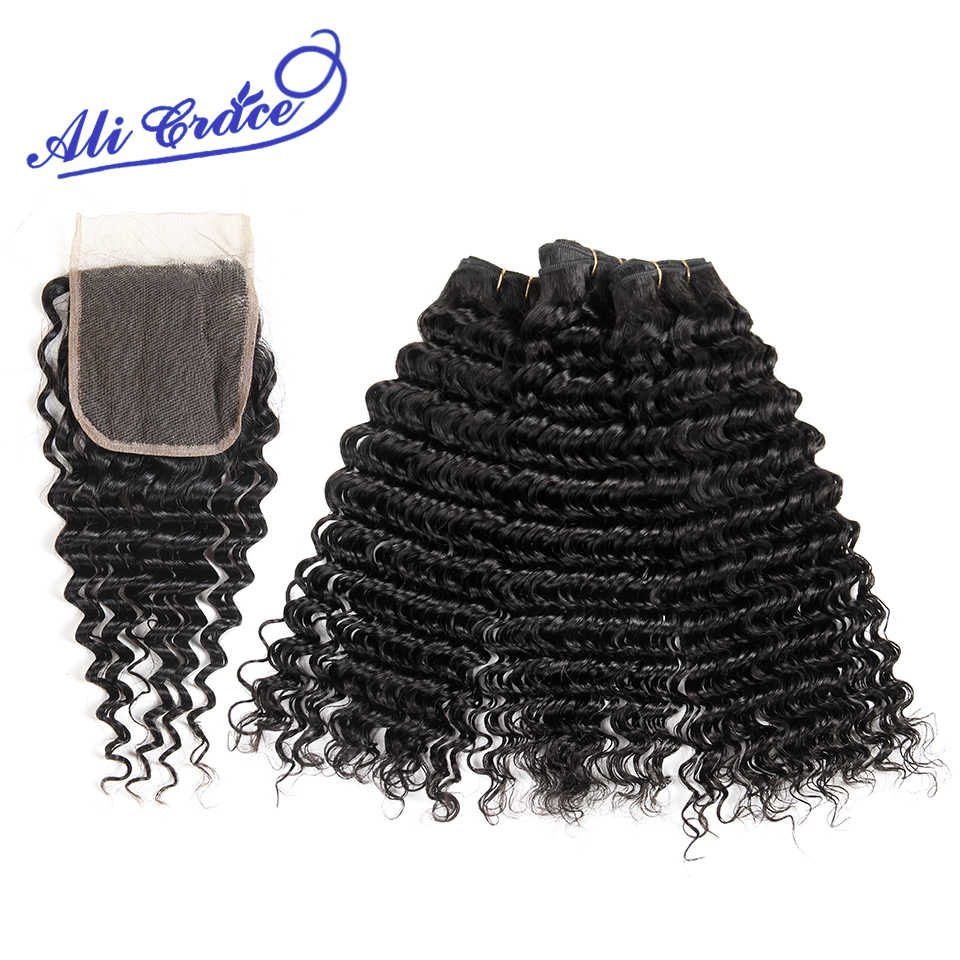 Ali Grace Filipino Deep Wave 3 Bundles Human Hair With Lace Closure 4*4 Free/Middle Part Remy Hair Natural Color Free Shipping