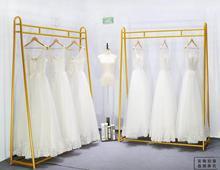 Vestido de noiva para mostrar rack rack, prateleira ferro forjado Alta qualidade no cabide, roupa