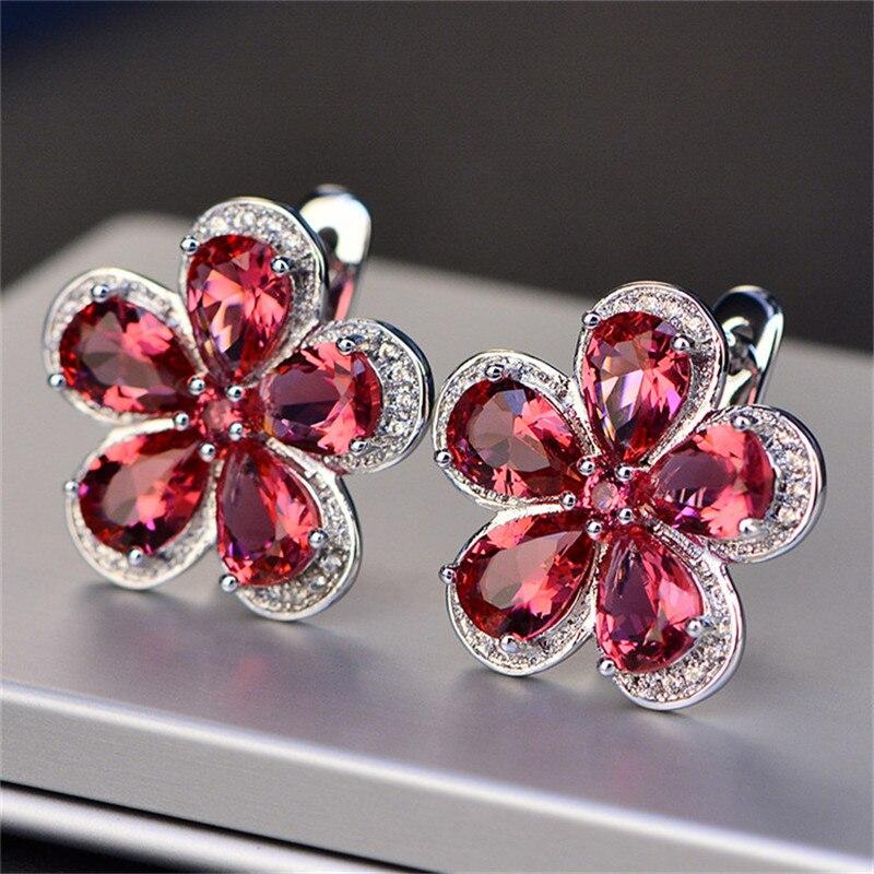 Clip Earrings For Women S925 sterling-silver-jewelry Flower Luxury Ruby Ear Studs Vintage Bridal Wedding Brincos Fine Jewelry