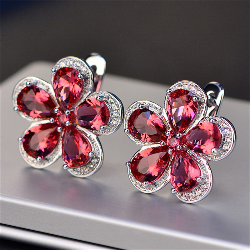 Clip Earrings For Girls S925 sterling-silver-jewelry Flower Luxurious Ruby Ear Studs Classic Bridal Wedding ceremony Brincos Tremendous Jewellery Earrings, Low cost Earrings, Clip Earrings For Girls S925 sterling silver...