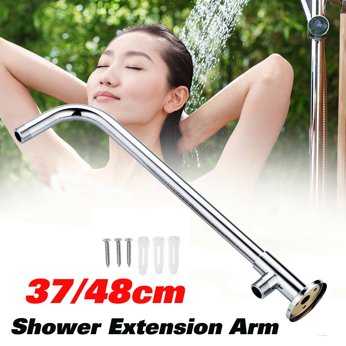 370mm/480mm Wall Mounted Shower Head Extension Arm Bottom Entry Hose Shower Extension Arm Fitting Mount Base For Home Bathroom
