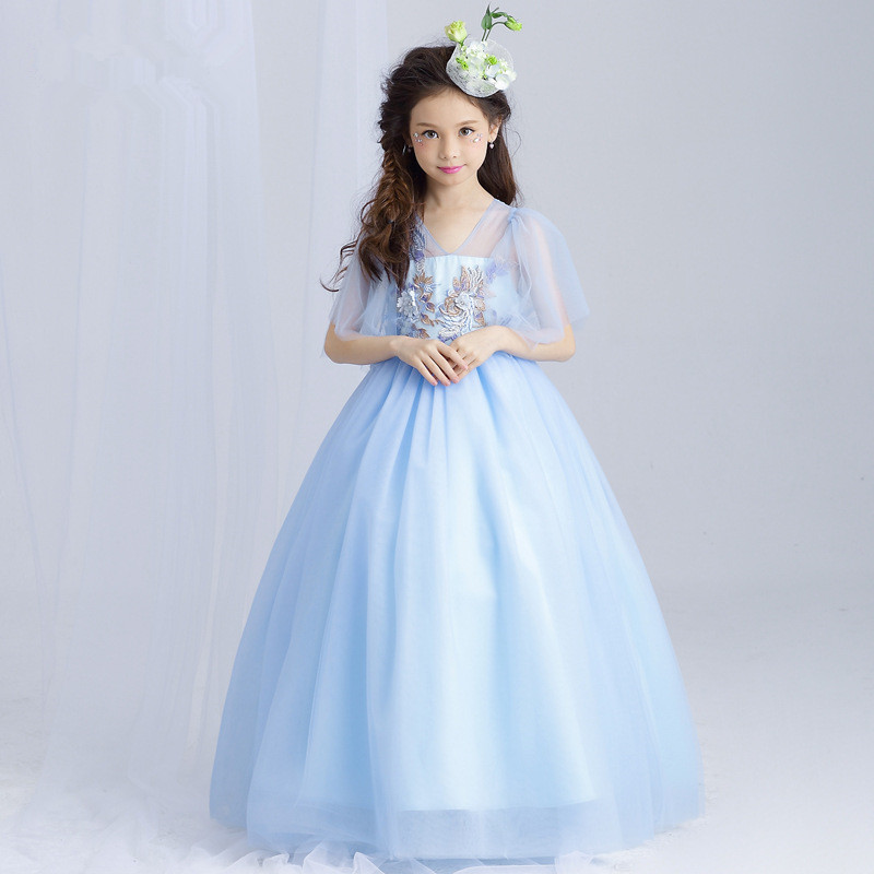 Exquisite Long Girls Dress Ball Gown Appliques V-Neck Blue Flower Girl Vestido for Party 2018 Girl Clothes 4 6 8 10 12 14 Years женское платье booming jelly v 2015 vestido vestidos 141029 page 6