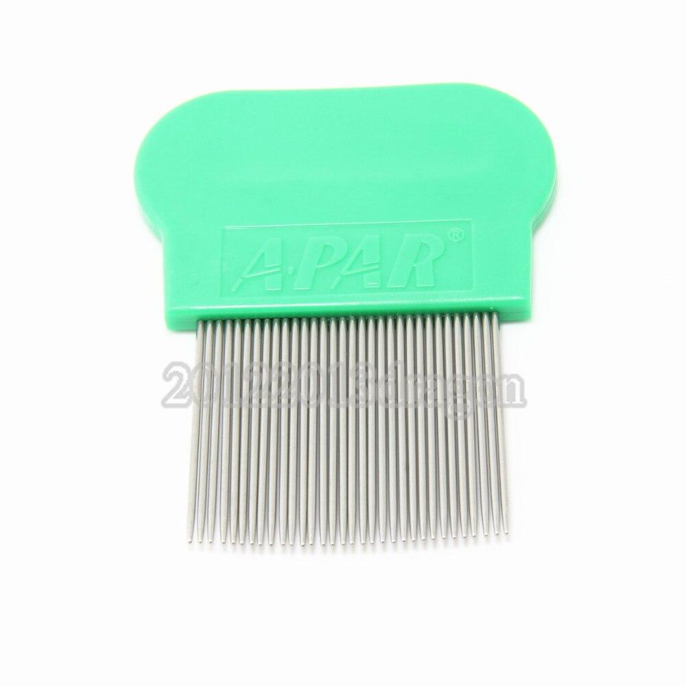 Wholesale in stock 10PCS Terminator Lice Comb Nit Free Kids Hair Rid Headlice stainless steel Metal Teeth color green מסרק כינים