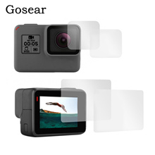 Gosear 4шт видеокамера высокой четкости закаленное стекло защитная пленка для GoPro герой 6 5 перейти Pro аксессуары спорт камеры