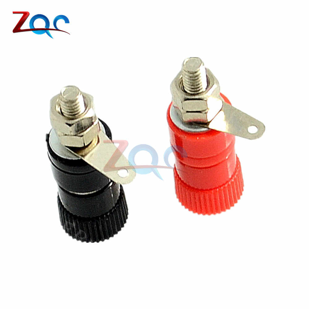 10PCS JS-910B 4mm Banaan Socket Vernikkeld Binding Post Moer Banana Plug Jack Connector voor Luidspreker Audio Rood + zwart