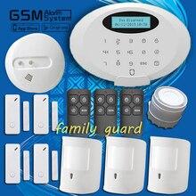 Бесплатная доставка! Семья гвардии новый своих дым беспроводной пир жк-экран GSM домашней безопасности охранной вторглась в сигнализация