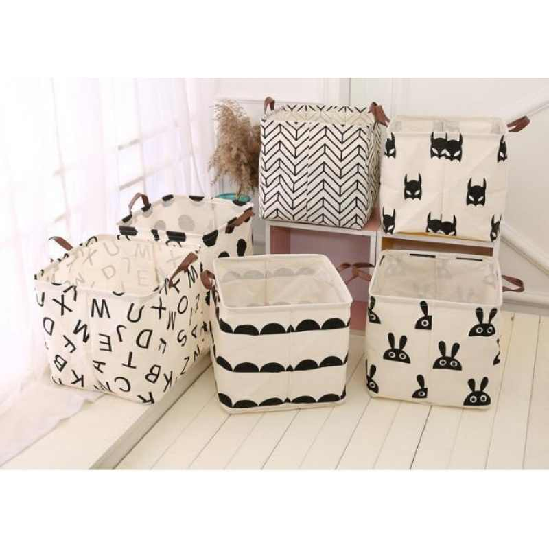 new Large Cotton Handle Folding Laundry Basket Toys Organizer Clothing Storage Bag Dirty Clothes Bucket Laundry Holder Stand Bin