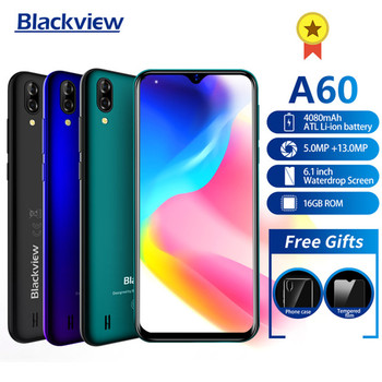 Купить Новое поступление, смартфон Blackview A60, аккумулятор 4080 мАч, 19:9 6,1 дюйма, двойная камера, 1 ГБ ОЗУ 16 Гб ПЗУ, мобильный телефон 13 МП + камера 5 Мп