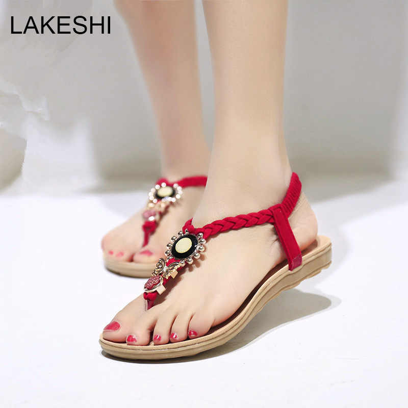 LAKESHI Women Sandals Ankle-Strap Flat Sandals Summer Shoes Women 2017 Flip Flops Plus Size 41 42 covoyyar 2018 fringe women sandals vintage tassel lady flip flops summer back zip flat women shoes plus size 40 wss765