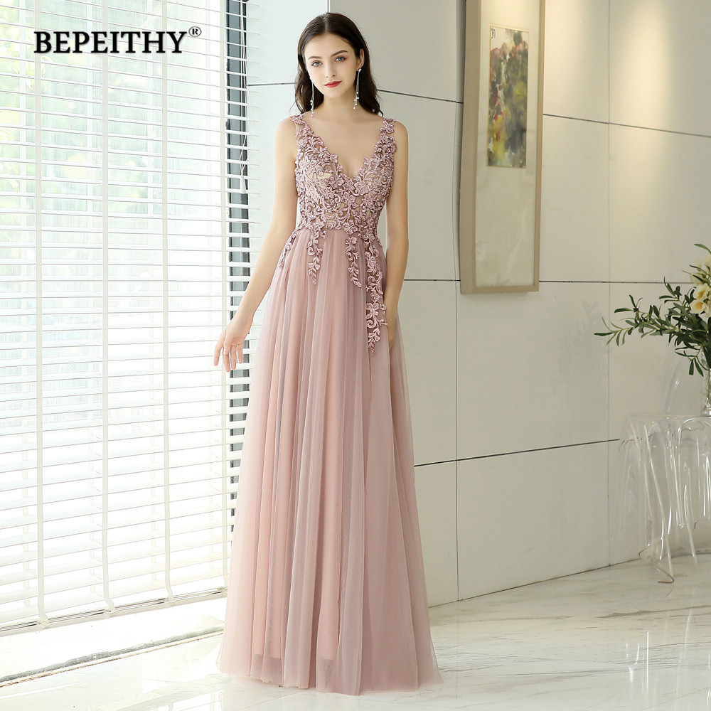 New Arrival 2019 V neck Pink Long Evening Dress Party Elegant Vestido De Festa Vintage Prom Gowns With Slit  Abendkleider (China)