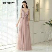 Neue Ankunft 2020 V neck Rosa Lange Abendkleid Partei Elegante Vestido De Festa Vintage Prom Kleider Mit Schlitz Abendkleider