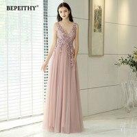 New Arrival 2020 V neck Pink Long Evening Dress Party Elegant Vestido De Festa Vintage Prom Gowns With Slit Abendkleider