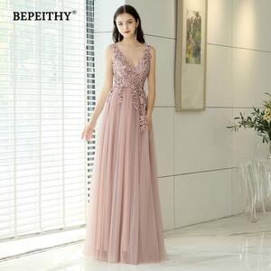 Image 1 - Женское винтажное вечернее платье, длинное розовое платье с V образным вырезом и разрезом, элегантное платье для выпускного вечера, 2020