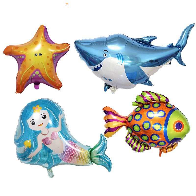 80*65 cm azul sereia folha big Balões da festa de Aniversário Decorações Do chuveiro de Bebê Casamento Balão dia das Crianças brinquedo animais marinhos