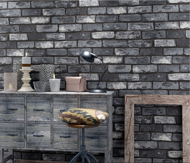 Rustic Vintage 3D Faux Brick Wallpaper Roll Vinyl Old Stone Wall Paper For Restaurant Cafe Decoration