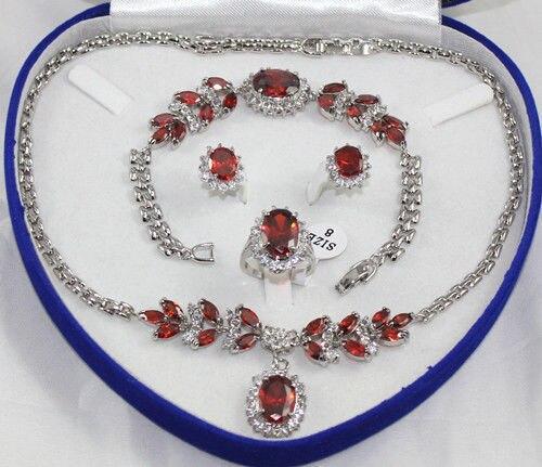 Fu67 J23I livraison gratuite > femmes ensemble de bijoux de cristal rouge collier en argent pendentif Bracelet bague boucle d'oreille