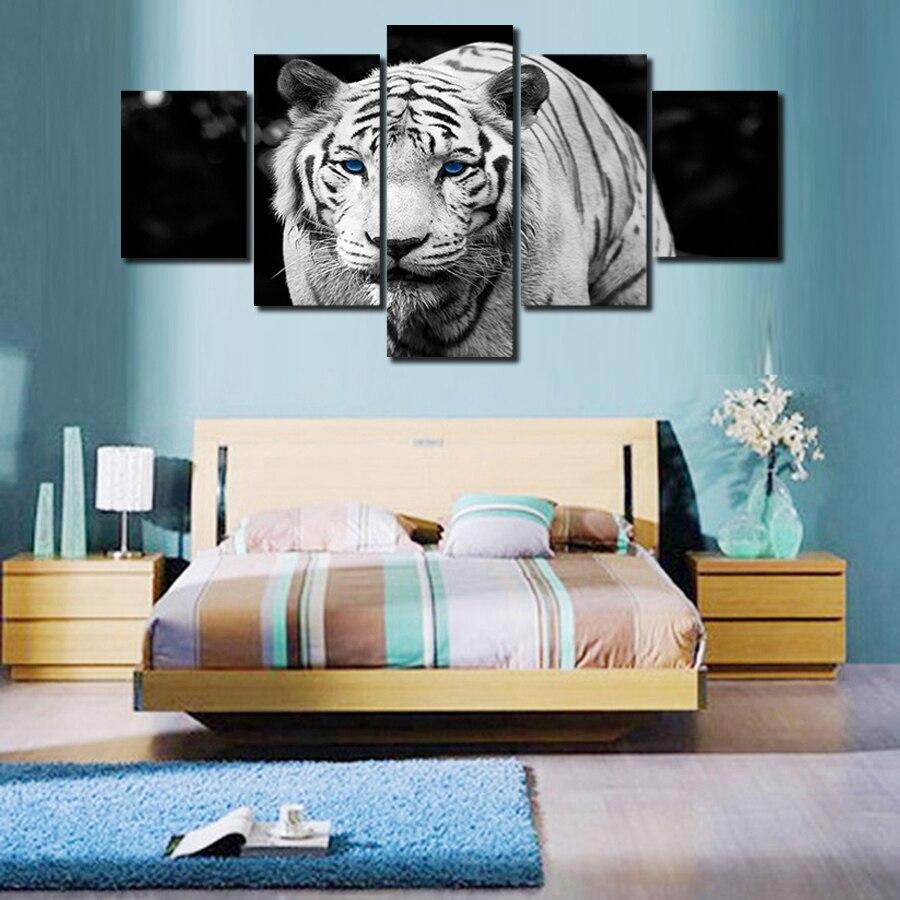Černobílé tygrové plátno pro obývací pokoj Kancelářská - Dekorace interiéru