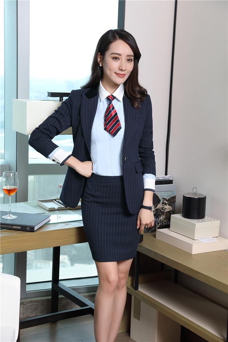 Per E Le Delle Gonna Eleganti Uniformi Vestiti Signore Il Giacca Donne Donna blu D'affari Stili Nero Blazer A Imposta Formale Abiti Ufficio Righe PtnxTFWwwq