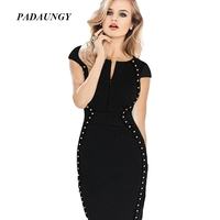 PADAUNGY Rivet Party Dress Black Ropa Mujer Deep V Neck Slim Night Clubwear Short Sleeve Dresses